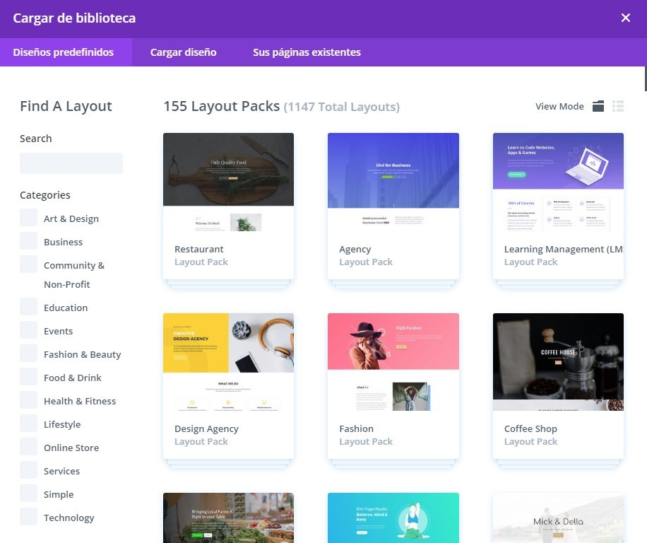 biblioteca layouts divi