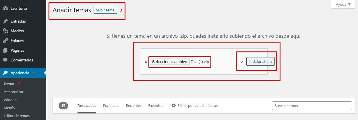 instalar divi en wordpress